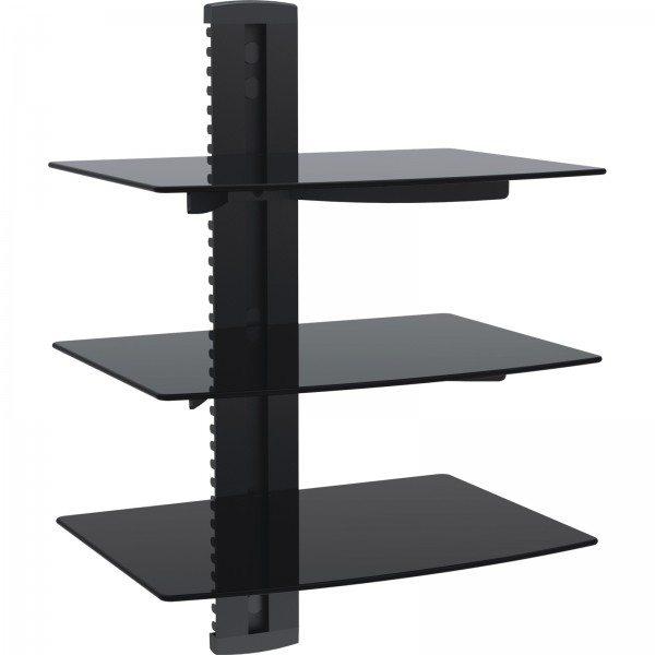 BEST 3 Tier DVDReceiverSTB Wall Mount Glass Shelf Unit